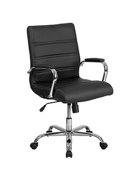 Flash Furniture Mid Back Black Leather Executive Swivel Chair With Chrome Base And Arms by Flash Furniture