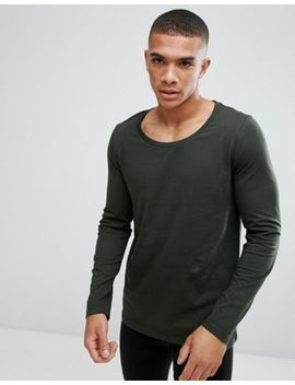 Asos Design Long Sleeve T Shirt With Scoop Neck In Khaki by Asos