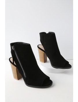 Bartlett Black Nubuck Peep Toe Ankle Booties by Lulu's