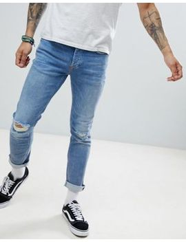 River Island Slim Jeans With Rips In Mid Wash Blue by River Island