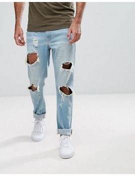 Hoxton Denim Slim Fit Jeans With Busted Knees by Jeans
