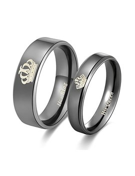 Amazing Her King His Queen Titanium Stainless Steel Wedding Band Set Anniversary Engagement Promise Ring by Global Jewelry