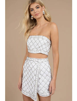 In The Moment White Embellished Tube Top by Tobi