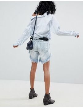 One Teaspoon Frankies Long Line Denim Short With Rips And Raw Hem by One Teaspoon