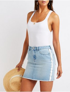 Refuge Stripe Denim Skirt by Charlotte Russe