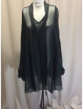 Batwing Sleeve Sheer Black Tie Neck Poncho Summer Cover Up Stunning by Unbranded