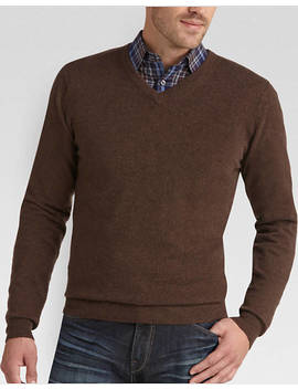 Joseph Abboud Brown V Neck Cashmere Sweater by Mens Wearhouse