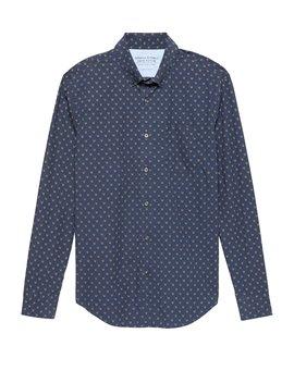 Grant Slim Fit Luxe Poplin Fox Print Shirt by Banana Repbulic