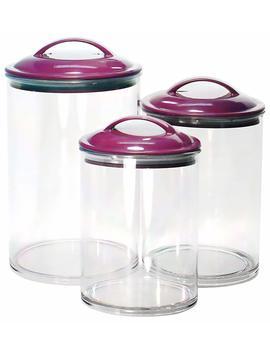Calypso Basics By Reston Lloyd Acrylic Storage Canisters, Set Of 3, Plum by Reston Lloyd