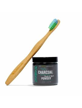 In Vitamin Natural Whitening Tooth & Gum Powder With Activated Charcoal (Spearmint) + Woo Bamboo Toothbrush by In Vitamin