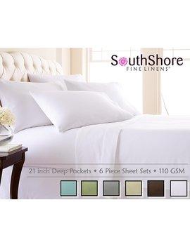 Southshore Fine Linens 6 Piece   Extra Deep Pocket Sheet Set   White   Queen by Southshore Fine Living, Inc.