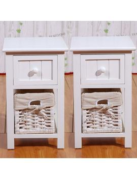 Set Of 2 White Storage Wood End Side Bedside Small Table With Drawer And Baske For Little Bedroom 12x11x17.7in(Lxwxh) by Joolihome