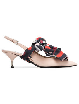Pradacream, Black And Red Bow Front 55 Patent Leather Slingback Pumpshome Women Shoes Pumps by Prada