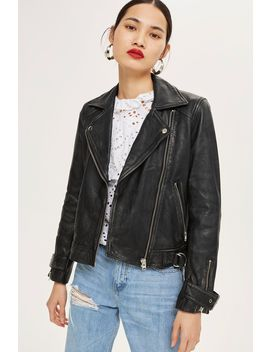 Tall Leather Jacket by Topshop