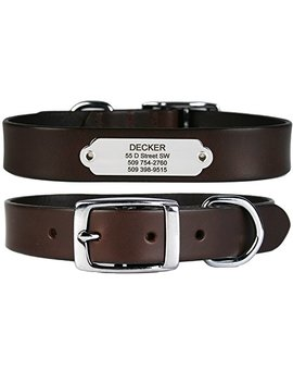 Premium Leather Dog Collar W/Stainless Steel Rivet On Pet Id Tag. Soft Touch Genuine Italian Leather W/Personalized Stainless Steel Dog Tag. Perfect For Small, Medium, Or Large Dogs, Male Or Female. by Go Tags