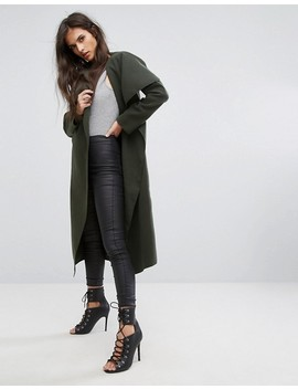 Missguided Khaki Oversized Waterfall Duster Coat by Missguided