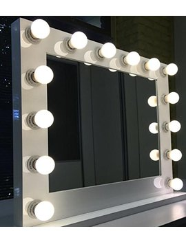 White Lighted Hollywood Makeup Vanity Mirror With Dimmer,Large Size 31 X 25, Plug In Double Electric And Usb Ports With Led Light Bulbs Included, Tabletop Or... by New Era Vanity