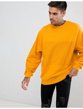 Asos Design Oversized Sweatshirt In Yellow With Reverse Panel by Asos Design