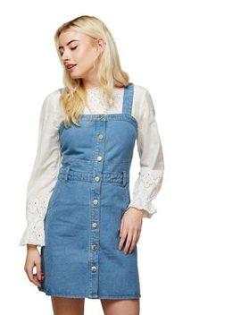 Miss Selfridge   Denim Button Pinafore Dress by Miss Selfridge