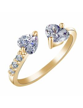 Sterling Silver Plated & 18 K Gold Plated Cz White Crystal Rhinestones Double Heart Band Ring,Adjustable by Fl Beauty