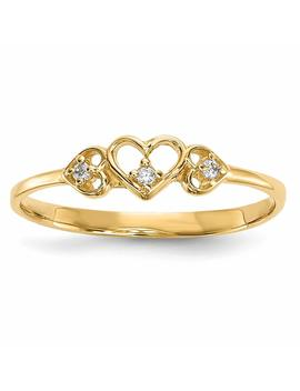Ice Carats 14kt Yellow Gold Cubic Zirconia Cz 3 Hearts Band Ring S/Love Fine Jewelry Ideal Gifts For Women Gift Set From Heart by Ice+Carats