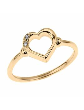 Fine 10k Yellow Gold Dainty Band 2 Stone Diamond Open Heart Ring by Modern Contemporary Rings