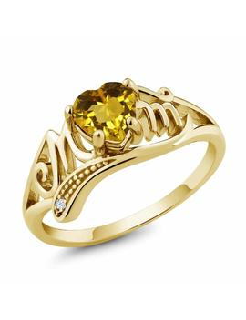 0.47 Ct Heart Shape Mothers Day Citrine And Topaz Gold Plated Silver Mom Mom Ring by Gem+Stone+King