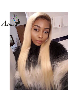 150 Percents Density Ombre T4 613 Blonde Lace Front Wig Straight Remy Two Tone Dark Roots Blonde Human Hair Wigs For Black Women Atina by Atina