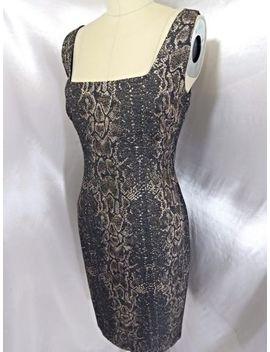 Nwt Dress~Tahari~B<Wbr>Lack/Gold Snakeskin Print Bodycon Fitted Lined Cocktail Sz 8 by Tahari