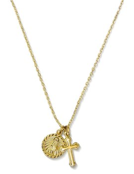 Cross Necklace With Coin: 14k Gold Pendant Necklace Saint Medal Disc Circle Saint Genevieve Dainty 18 Inch Necklaces For Women by Benevolence+La