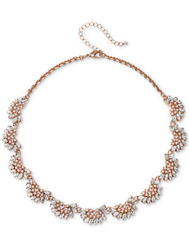 "Rose Gold Tone Crystal & Imitation Pearl Collar Necklace, 16"" + 3"" Extender by Jewel Badgley Mischka"