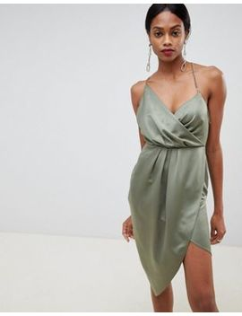 Asos Design Satin Wrap Dress With Chain Back by Asos Design