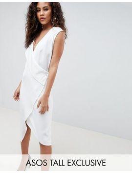 Asos Design Tall Satin Clean Tux Midi Dress by Asos Design