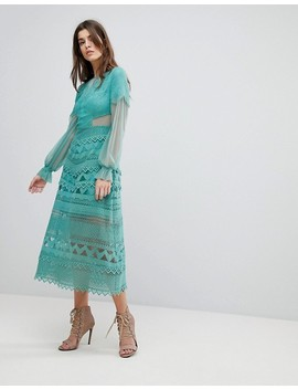 Three Floor Lace Midi Dress With Bell Sleeves by Three Floor