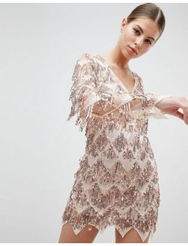 Club L Long Sleeve Tassel Fringe Sequins Plunge Bodycon Dress by Club L