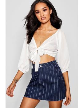 Petite Alice Denim Stripe Mini Skirt by Boohoo