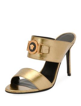Icon Medusa Metallic Leather Mule Slide Sandals by Versace