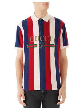 Men's Striped Piqué Polo Shirt by Gucci