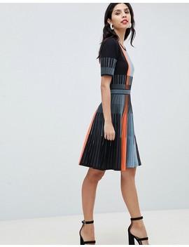 Boss Casual Striped Knit Detail Dress by Boss