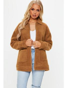Brown Oversized Borg Zip Through Jacket by Missguided