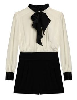 Pussy Bow Two Tone Silk Crepe Playsuit by Rachel Zoe