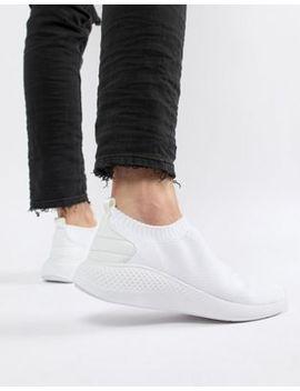 Asos Design Slip On Sock Sneakers In White Knit by Asos Design