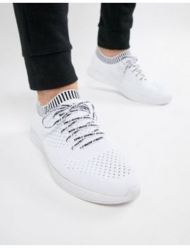 Pull&Bear Exclusive Knitted Sneakers In White With Logo by Pull&Bear