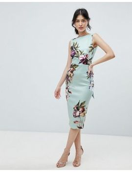 True Violet Bow Back Sleeveless Midi Bodycon Dress In Floral Print by True Violet