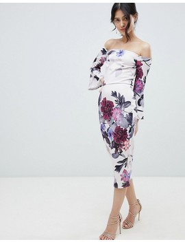True Violet Bardot Midi Dress With Frill Sleeve In Foral Print by True Violet