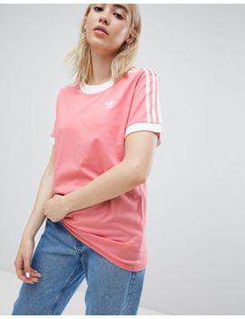 Adidas Originals 3 Stripe Ringer T Shirt In Pink by Adidas