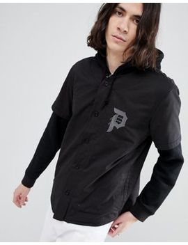 Primitive Two Fer Baseball Layered Hoodie In Black by Primitive Skateboarding
