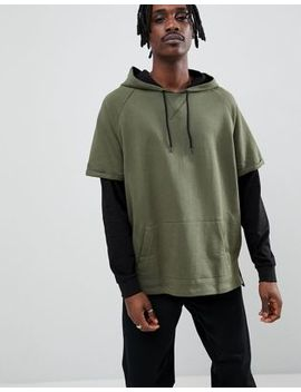 Asos Design Oversized Hoodie In Khaki With Contrast Double Sleeves by Asos Design
