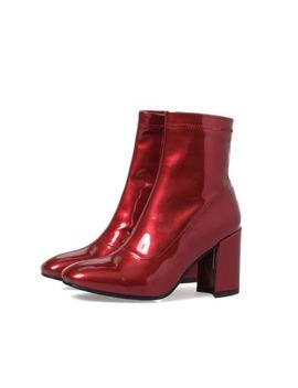 Womens Square Head Side Zipper Chelsea Chunky Heels Patent Leather Ankle Booties by Unbranded