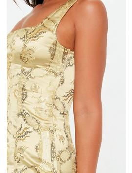 Gold Oriental Jacquard Dress by Missguided